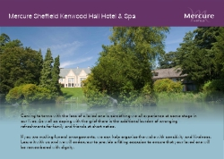 Funeral and wake package from Mercure SHeffield Kenwood Hall Hotel & Spa