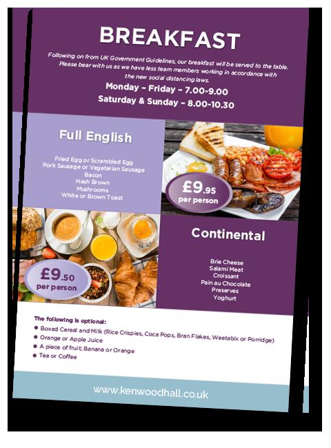 Kenwood Hotel Sheffield Breakfast Menu